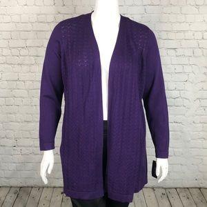 Deep Purple Open Front Cardigan Plus Size 1X 3X